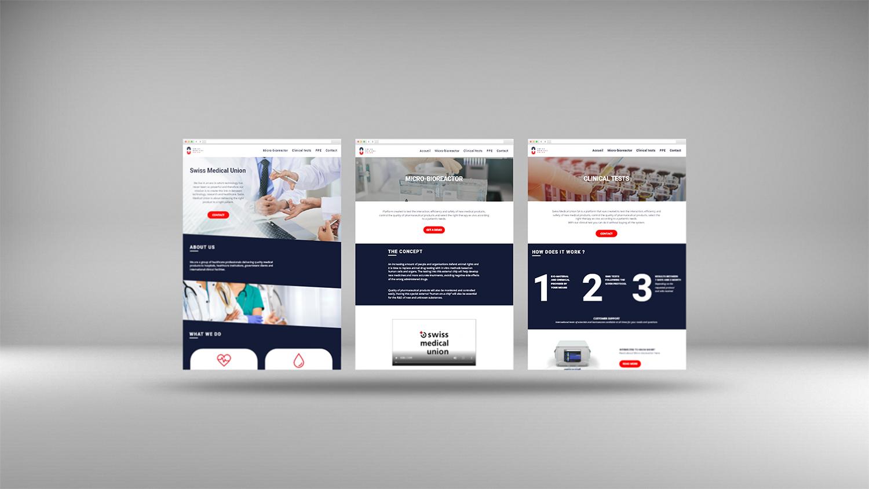 L'image représente des mockups du site web de Swiss Medical Union