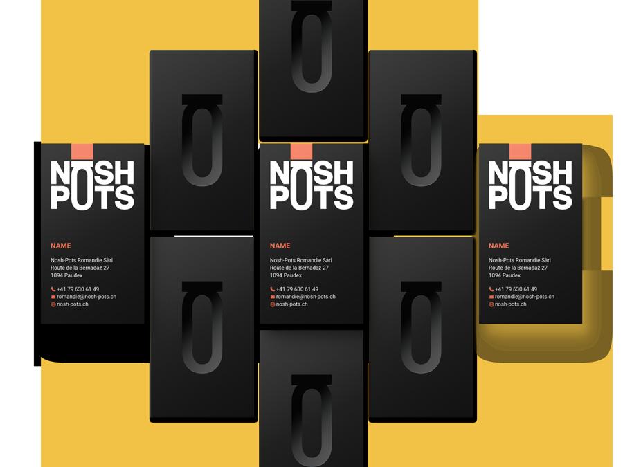 L'image représente des mockups de cartes de visite de Nosh-Pots